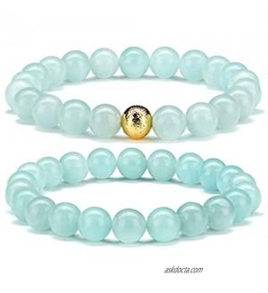 CHOGLE Gemstone Beaded Bracelets for Women - Semi Precious 8mm Round Natural Stone Beads Bracelet - Stretch Strand Bracelet for Girls