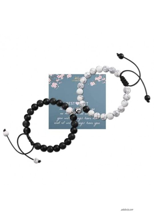 Couple Bracelets Mutual Attraction Magnetic Bracelet Matte Agate Bracelet Vows of Eternal Love Matching Relationship Beads Bracelet for Boyfriend Girlfriend Him and Her Lover Couples Gifts
