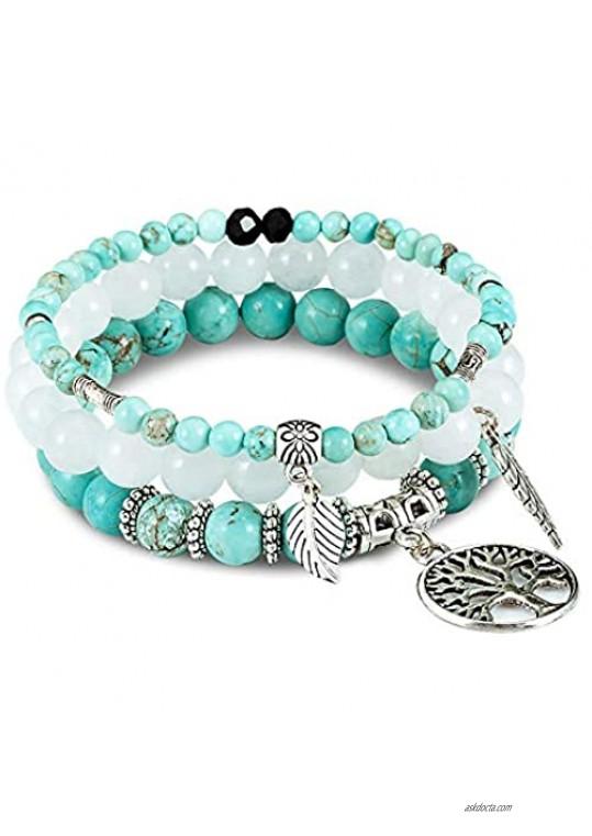 FANCY SHINY Gemstone Bead Bracelets Tree of Life Charms Yoga Healing Stone Bracelet Set for Women