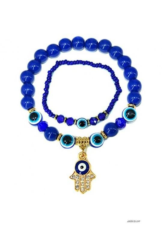 SOKACH 2Pcs Evil Eye Bracelet For Women Men Hamsa Blue Beaded Charm Stretch Hand of Fatima Turkish Greek Jewelry Evil Eyes Azabache Lucky Bracelets Protection Blessing Gifts