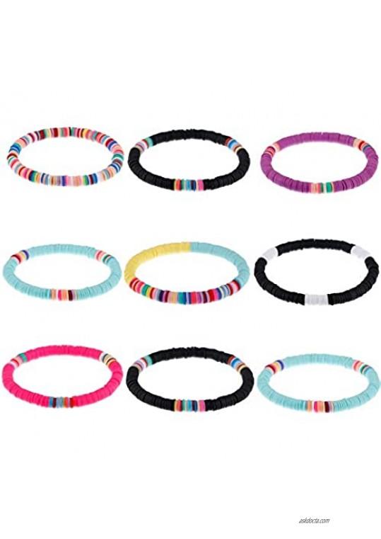 VALIJINA 9Pcs Handmade Beaded Bracelets for Women Heishi Surfer Bracelets Boho Colorful Rainbow Bracelet Elastic Layering Friendship Bracelets Set Summer Beach Jewelry