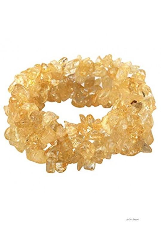 YACQ Gemstone Stretch Cuff Bracelet 5 Layer Braided Birthstone Celestial Chunky Chakra Bracelet Handmade Jewelry for Women Teen Girls 7.5
