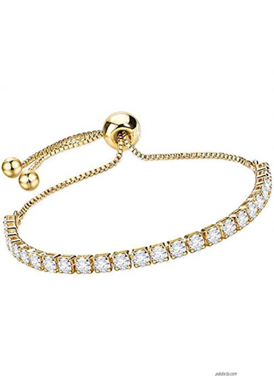 14K Gold Plated Cubic Zirconia Tennis Bracelets for Women Rose Gold Plated Diamond AAA+ Cubic Zirconia CZ Dainty Classic Adjustable Slider Bracelet Silver Fashion Jewelry Wedding Gift