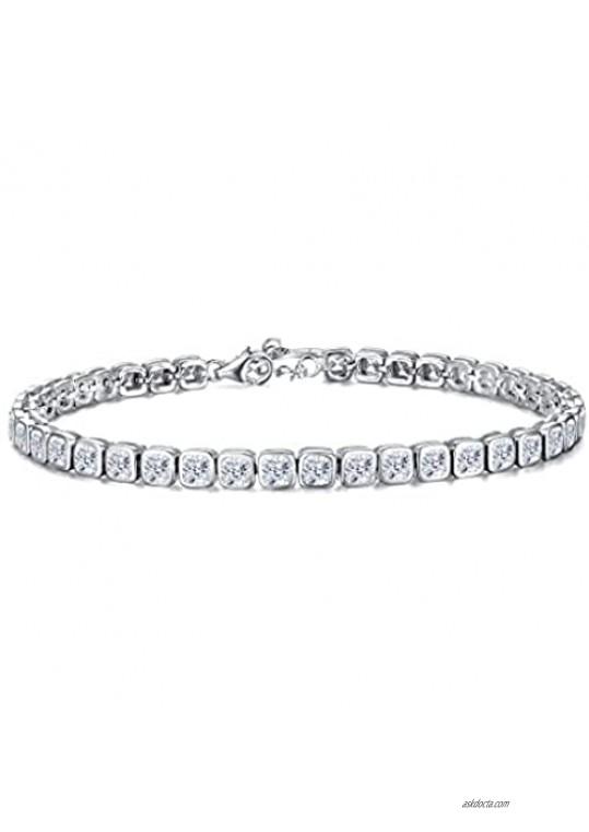 EVER FAITH 925 Sterling Silver CZ Bezel Set Square Cut Tennis Bracelet Chain Clear