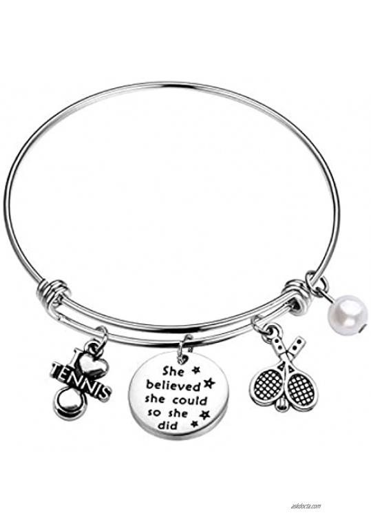 FUSTMW Tennis Charm Bracelet Tennis Lover Gift She Believed She Could So She Did Tennis Jewelry Gift for Tennis Player Partners & Tennis Teams Inspirational Gift