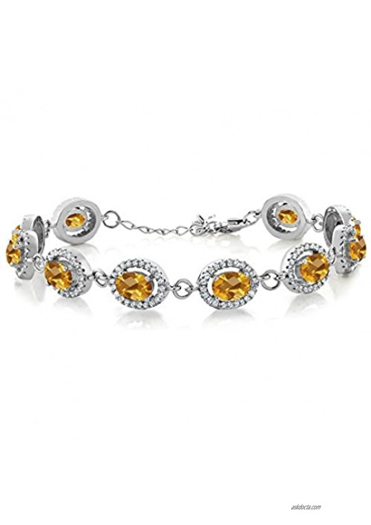 Gem Stone King 925 Sterling Silver Yellow Citrine 7.5 Inch Bracelet For Women (9.88 Ct Oval Checkerboard Cut)