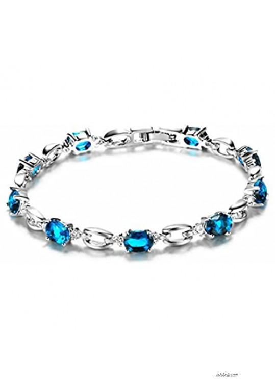 "gemstoneworld 7.25"" Women Oval Cut Cubic Zirconia CZ White Gold Plated Tennis Bracelet Gift"