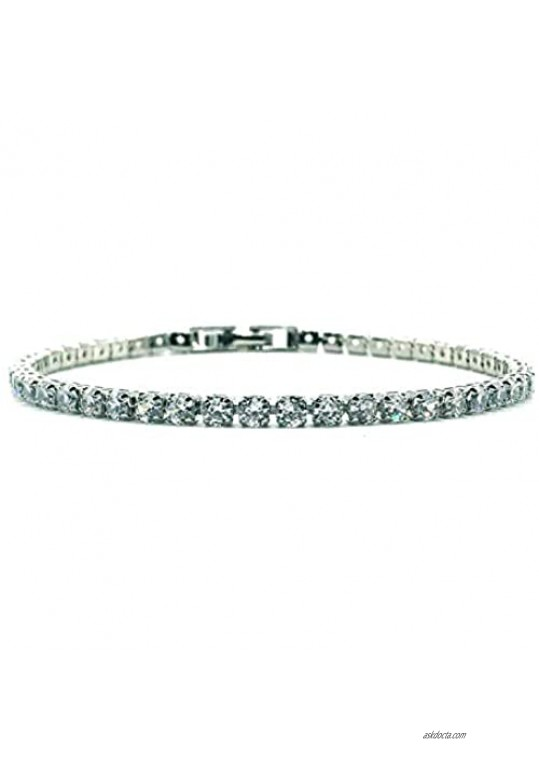 gemstoneworld 7.5inches Tennis Bracelet for Women  3mm Round Cut Cubic Zirconia CZ White Gold Plated Chain Jewelry for Birthday Party Wedding Engagement Xmas Gift
