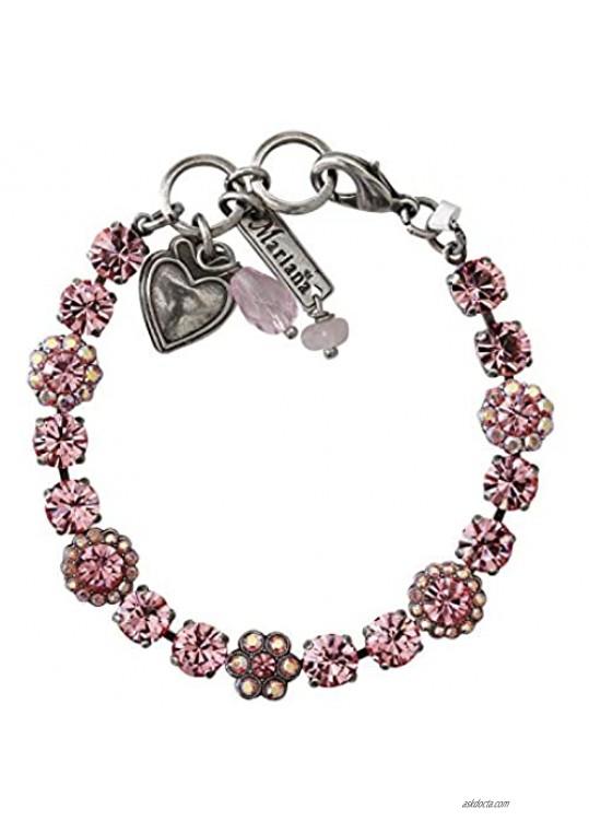Mariana Silvertone Petite Floral Flowers Mosaic Crystal Tennis Bracelet Light Rose Pink Iridescent Shimmer 4173/3 2230
