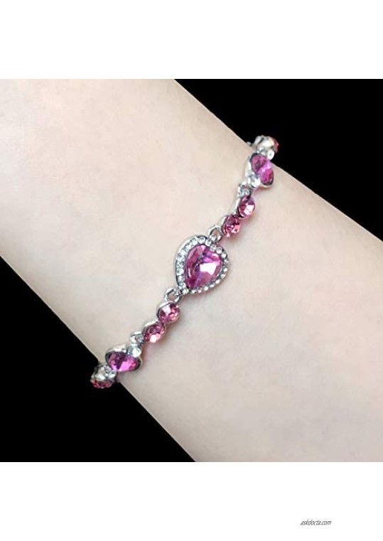 Women Heart Cut Crystal Rhinestone Simulated Pink Sapphire White Gold Plated Adjustable Tennis Bracelet Gift