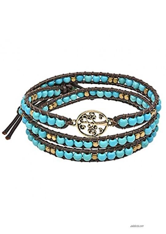 AeraVida Mystic Tree of Life on Genuine Leather and Simulated Turquoise Wrap Bracelet