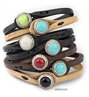 Genuine Italian Leather Bracelet in Multiple Color Combinations   Stone Closure   Handcrafted in Italy (Ginger)