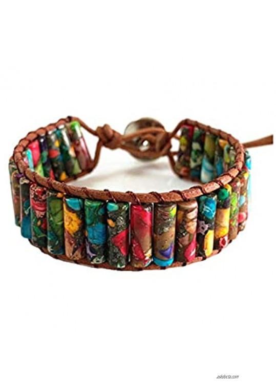 LAVI Handmade Leather Chakra Imperial Jasper Beads Cuff Wrap Alloy Bracelet for Women Men Bohemian Style
