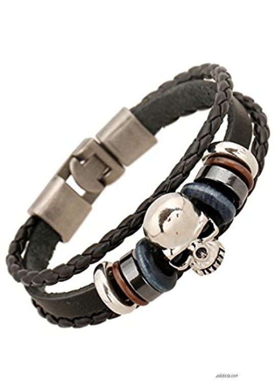 MORE FUN Punk Style Alloy Button Leather Two Black Handmade Braided Rope Bracelet