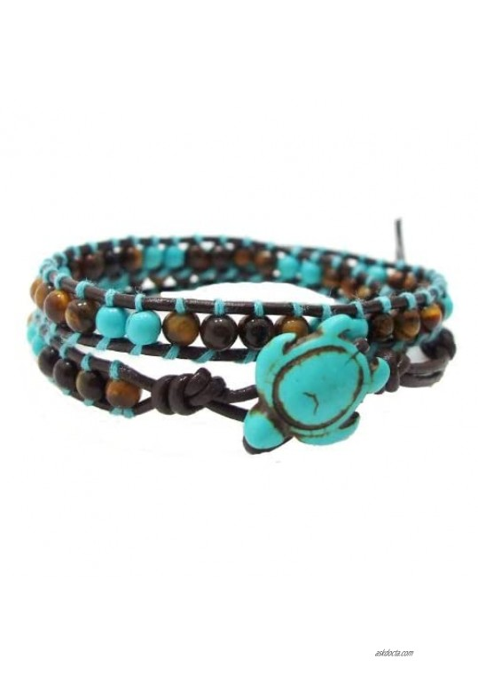 Ocean Sea Turtle Simulated Turquoise and Tiger's Eye Double Wrap Leather Bracelet