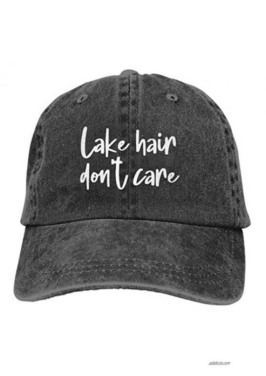 OASCUVER Lake Hair Don't Care Hat Distressed Cotton Adjustable Lake Life Baseball Cap for Men Women
