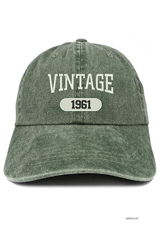 Trendy Apparel Shop Vintage 1961 Embroidered 60th Birthday Soft Crown Washed Cotton Cap