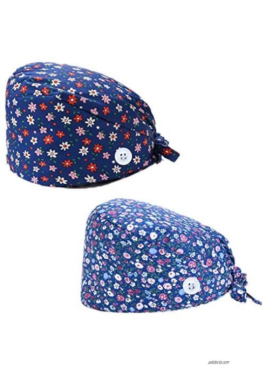 Cilkus Printed Work Cap 2 Pieces Adjustable Elastic Band and Button Fixation Suitable for Hospitals Beauty Salons