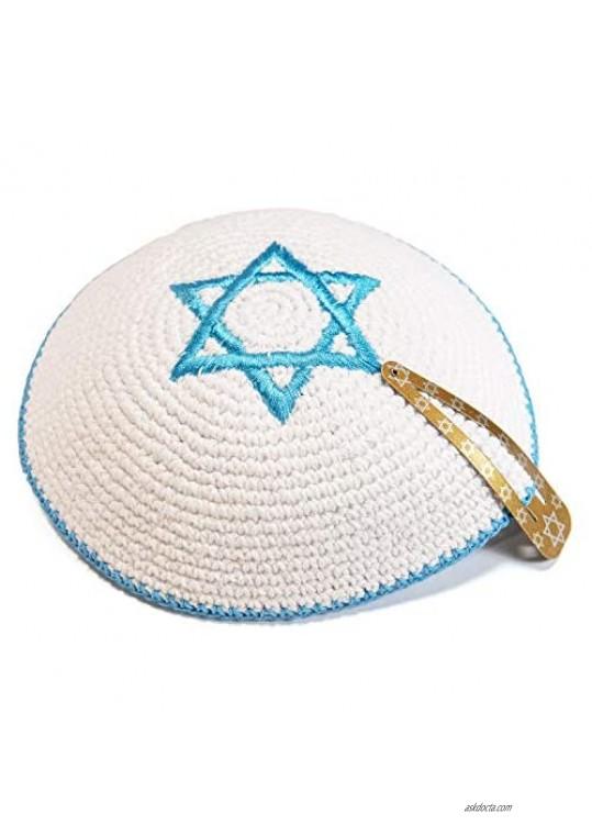 Knitted 16 cm White Magen David Kippah Jewish Kipa Israel Flag Yarmulke Synagogue