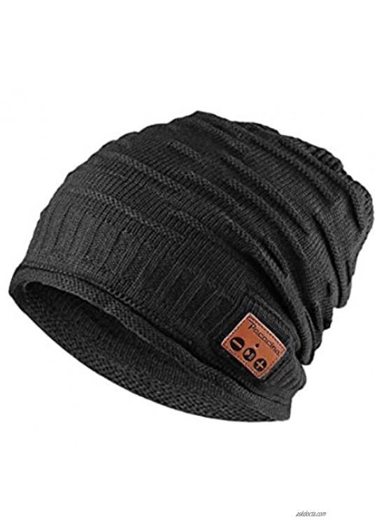 Pococina Wireless Headphone Beanie Music Hat Cap for Men Women Teens- 012 Black