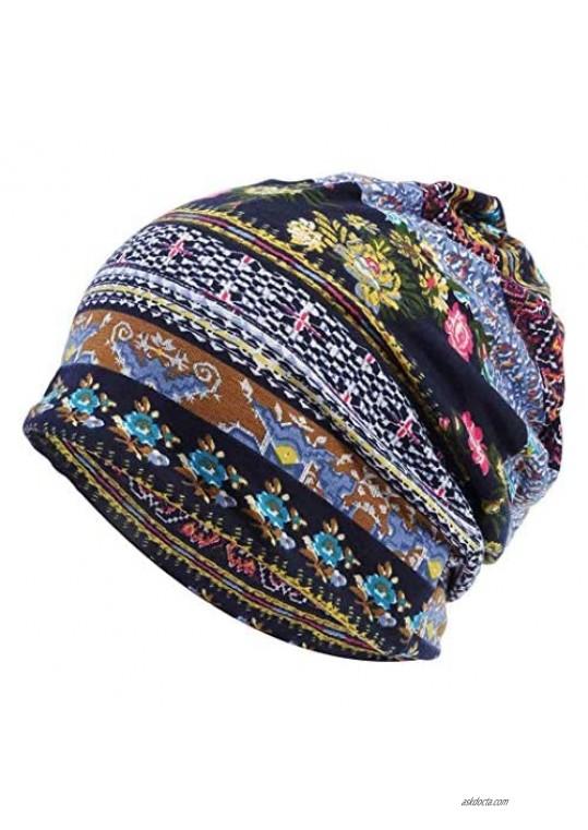 Quanhaigou Slouchy Beanie Hats Baggy Chemo Cap Scarf for Women Men Sport Casual Yoga Headwear Floral Prints Snood Hat