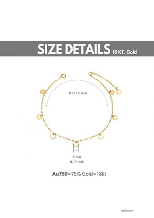 18K Gold Anklets for Women Yellow Gold Dot Disc Foot Ankle Bracelet Jewelry for Her 7.5-9
