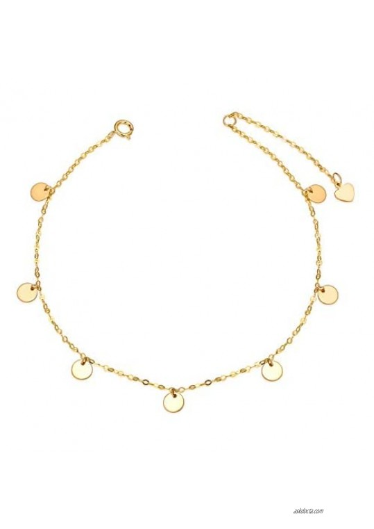 """18K Gold Anklets for Women  Yellow Gold Dot Disc Foot Ankle Bracelet Jewelry for Her  7.5""""-9"""""""