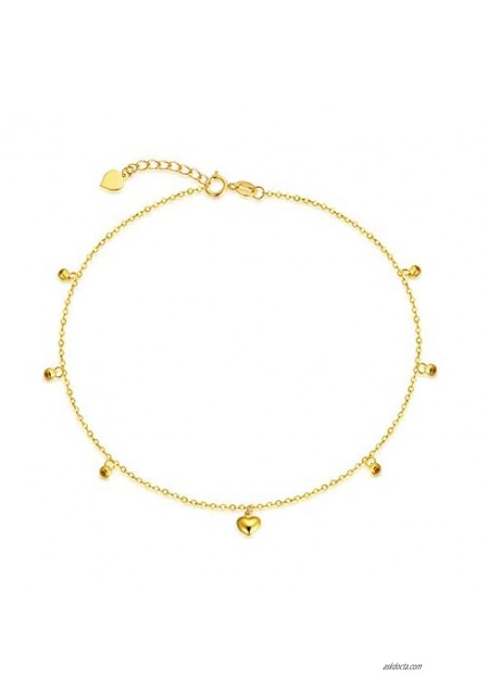"""18k Yellow Gold Heart Anklets for Women  Real Fine Jewelry Ankle Bracelet with Beads  8.4""""-10"""""""