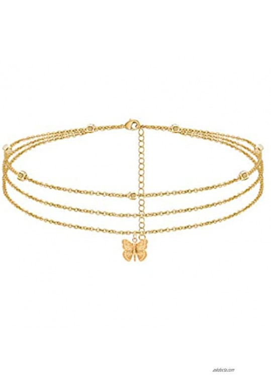 Butterfly Anklet Layered Butterfly Beads Chain Ankle Bracelet for Women 14K Real Gold Plated Beach Foot Jewelry