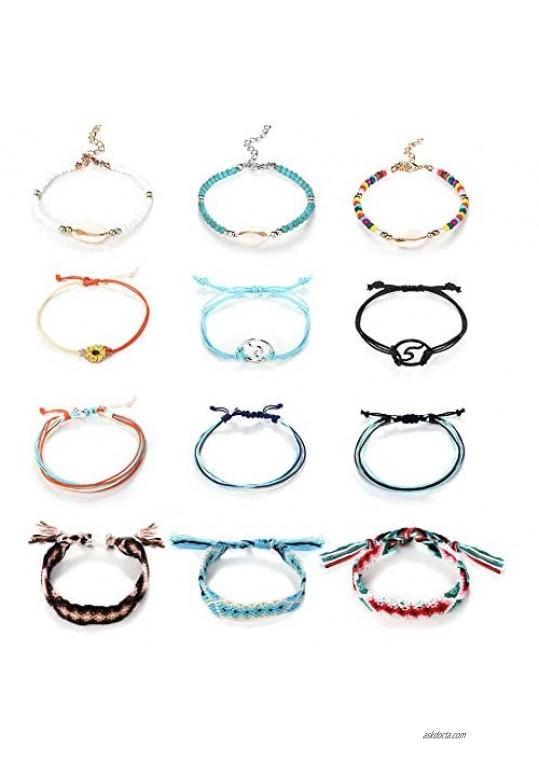 Finrezio 12PCS Bracelets for Women Teen Girls Boho Anklets Jewelry Handmade Shell Beads Charm Visc Ankle Bracelet Set