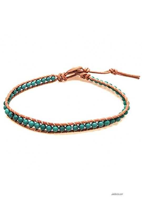 Infinityee888 Turquoise Anklet Bracelet Woven with Light Brown Leather Cord Handmade Hippie Bohemian Unisex Anklet for Men Women MJTQL1
