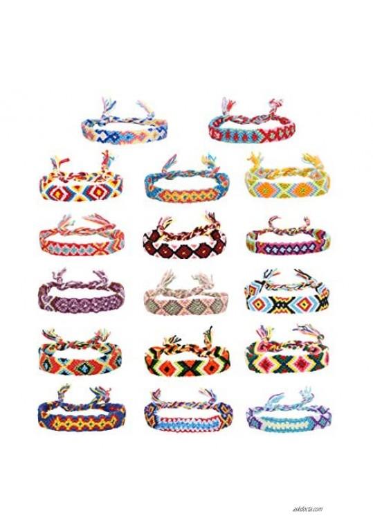 Jstyle 14-17Pcs Friendship Braided Bracelet for Women Handmade Colorful Nepal Woven Bracelet for Wrist Anklet Hair Accessorries
