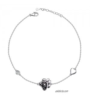 Ladytree Sterling Silver Beach Heart Chain Anklet Ankle Bracelet for Women Foot Jewelry Adjustable Cute Dog Pet Paw Print in S925