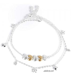 Lucky Brand Heart and Butterfly Anklet Set  Silver