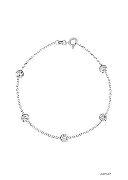 """Ritastephens Sterling Silver Small CZ By the Yard Station Anklet Bracelet Chain Anklet  10"""""""