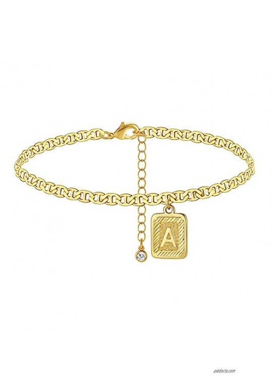 Wowshow 14K Gold Plated Anklet Initial Ankle Bracelets Square Pendents Letter Anklet for Women Flat Marina Foot Chain Gift