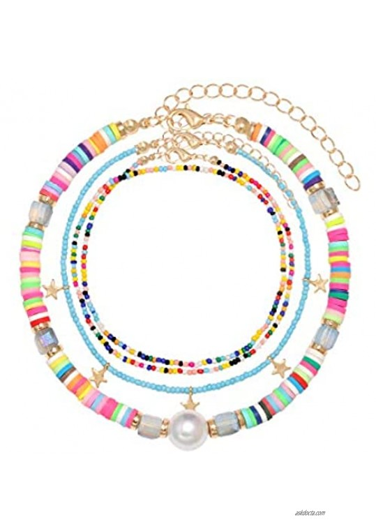 ZITULRY Multiple Colorful Beaded Anklets Bracelets for Women African Vinyl Disc Beads Foot Ankle Chain Bohemian Summer Beach Rainbow Beads Ankle Bracelet Set for Girls