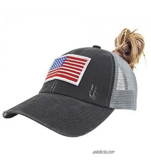 HGGE Womens USA American Flag Baseball Cap Adjustable Washed Distressed Cotton Denim Ponytail Trucker Hats