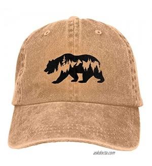 PVMWOV Bear Mountain Deer Unisex Adult Adjustable Cowboy Hats Denim Baseball Cap for Men Women
