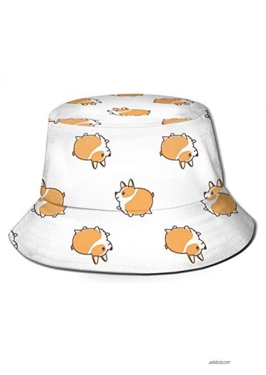 Corgi Bucket Hat Summer Travel Beach Portable Breathable Fisherman Hat Unisex