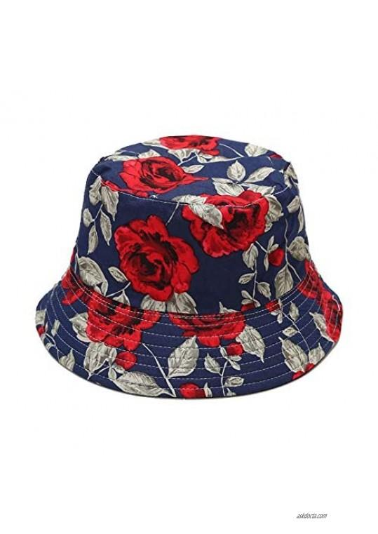 Gabrine Women's Cotton Reversible Bucket Hats Packable Beach Fisherman Cap