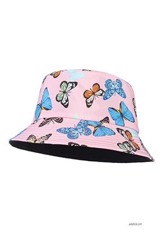 GEMVIE Womens Reversible Bucket Hat Butterfly Pattern Fisherman Hat Packable Beach Basin Sun Cap Outdoor Hat