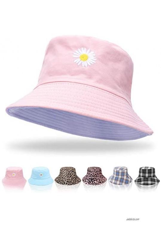 Women Bucket Hats - Summer Fisherman Hat Men Reversible Bucket Hat Foldable Beach Sun Hats for Women Men