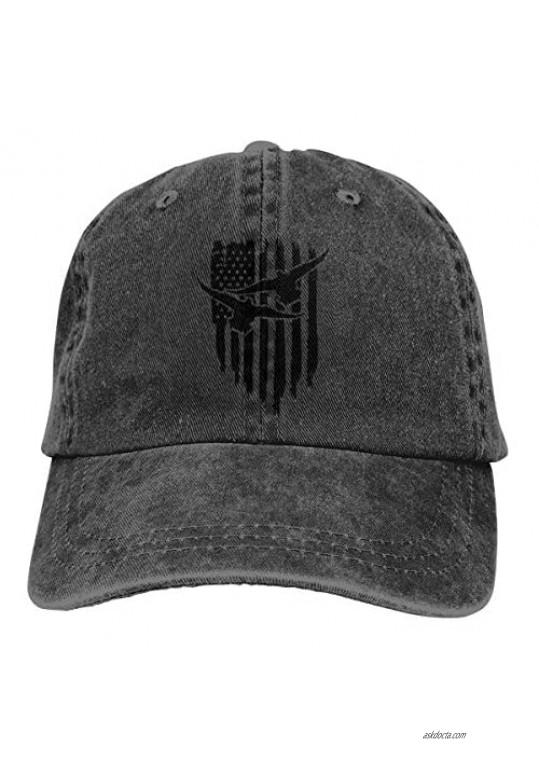 Duck Hunting USA Flag Trend Printing Cowboy Hat Fashion Baseball Cap for Men and Women Black