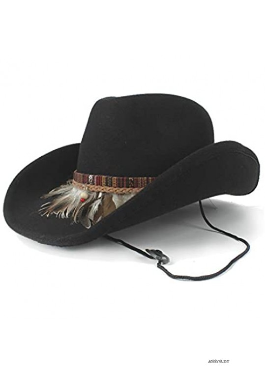 HXGAZXJQ Women Wool Hollow Western Cowboy Hat Elegant Lady Roll Up Brim Fascinator Sombrero Jazz Cap with Feather Band (Color : Black Size : 56-59cm)