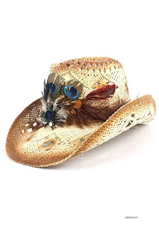 SHAONANSHI Women Straw Western Cowboy Hat Lady Handmade Peacock Feather Beach Cowgirl Jazz Sun Hat Size 56-58CM Adjust (Color : Beige Size : 56-58)
