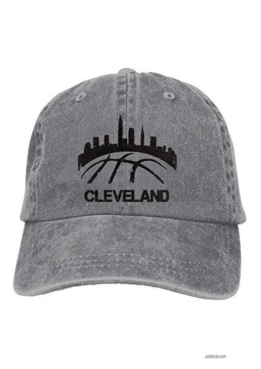 Vintage Cleveland Basketball Skyline Trend Printing Cowboy Hat Fashion Baseball Cap for Men and Women Black