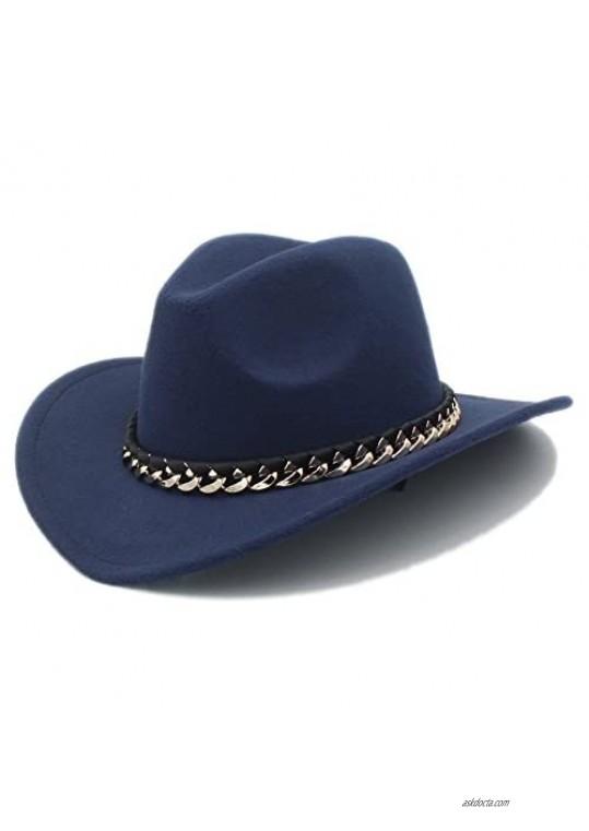 YXhats Fashion Unisex Faux Wool Cowboy Hat Fedora Outdoor Metal Chain Brim Sombrero Hat Dress up Caps