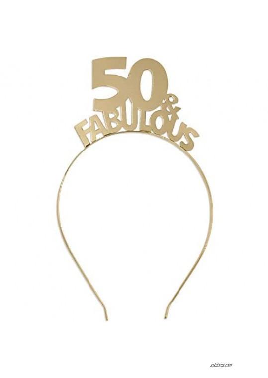 50 & Fabulous Gold Headband - Birthday Tiara Headband for Women - 50th Birthday Gift HdBd(50FAB)GLD