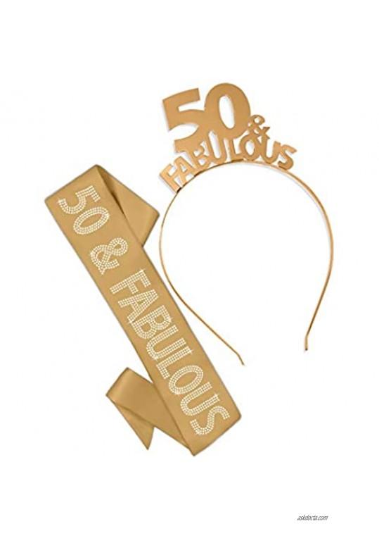 50 & Fabulous Gold Sash & Headband Tiara - 50th Birthday Gift Set Supplies Premium Quality Satin – Gold GSet(50&Fab Headband/Sash)GLD
